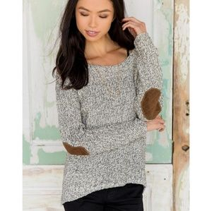 Anthro quinn elbow patch sweater size s/p